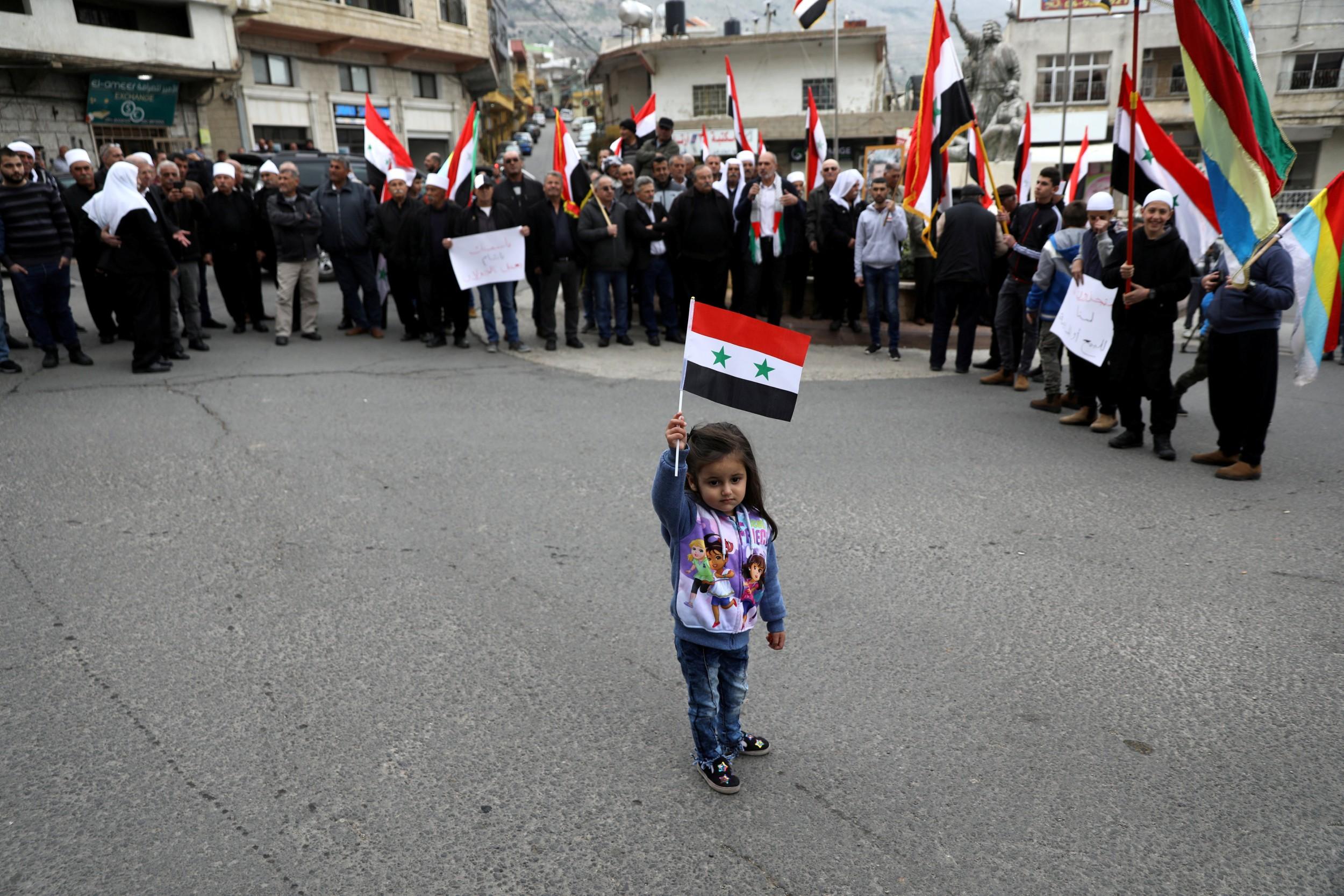 Golan Tepeleri Suriyelilerin gösterisi Reuters
