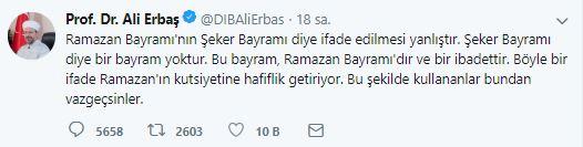 Ali Erbaş Ramazan bayramı tweet.JPG