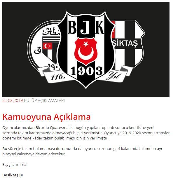 Beşiktaş Quaresma açıklaması.JPG