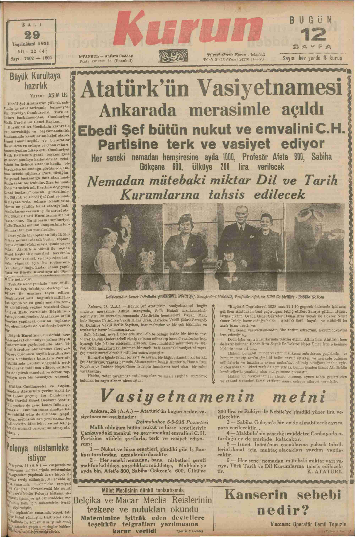 29 Kasım 1938 Tarihli Kurun.jpg